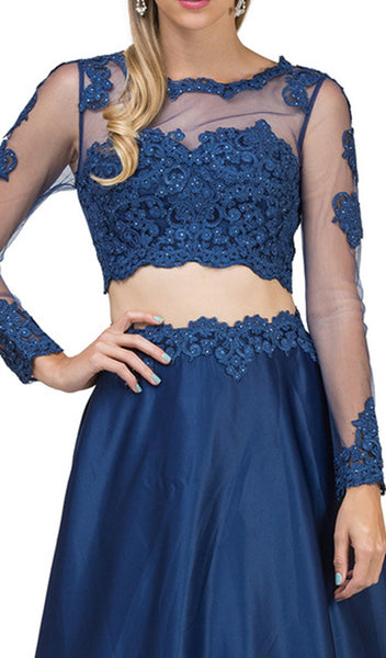 Two Piece Embellished A-line Prom Dress