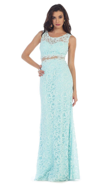 Stunning Beaded and Laced Illusion Sleeveless Long Formal Dress
