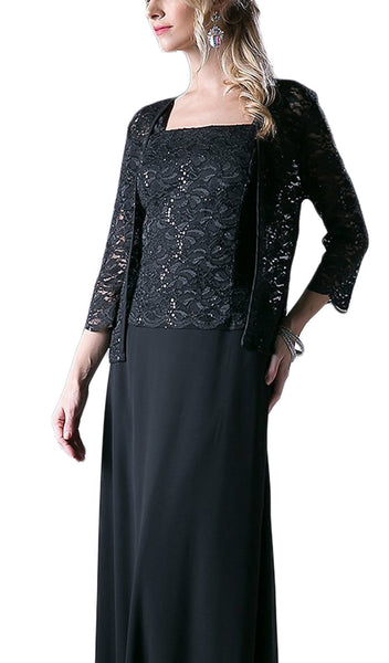Lace Straight Sheath Dress With Long Sleeve Jacket