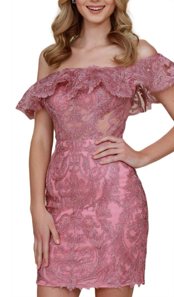 Nox Anabel - A611 Embroidered Ruffled Off-Shoulder Fitted Dress