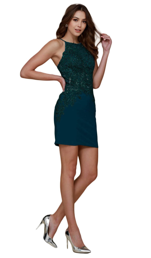 Nox Anabel - A628 Sleeveless Embroidered Halter Fitted Dress