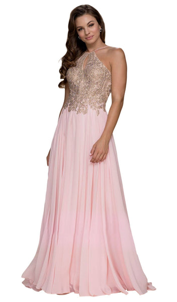 Gilded Lace Cutout Halter Chiffon Evening Gown