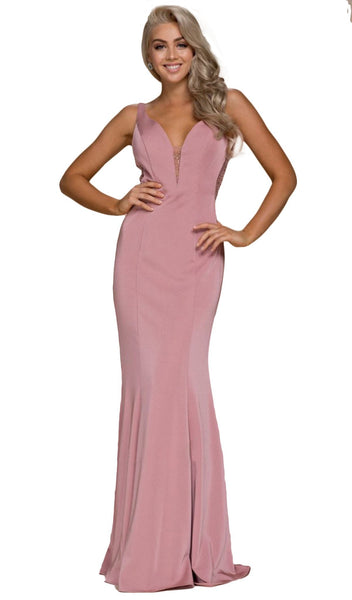 Bejeweled Illusion Inset Plunging V-Neck Evening Gown - ADASA