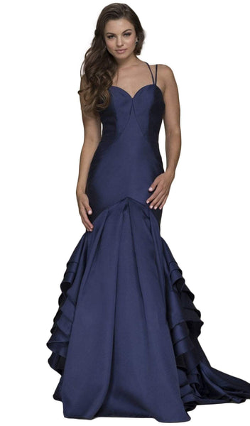 Nox Anabel - C034 Sweetheart Bodice Ruffled Mikado Trumpet Evening Gown
