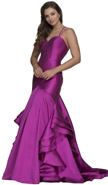 Sweetheart Bodice Ruffled Mikado Trumpet Evening Gown