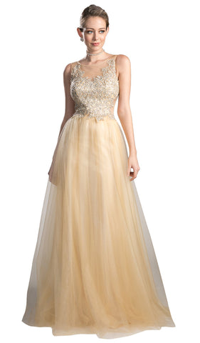 Beaded Lace Tulle A-line Prom Dress - ADASA