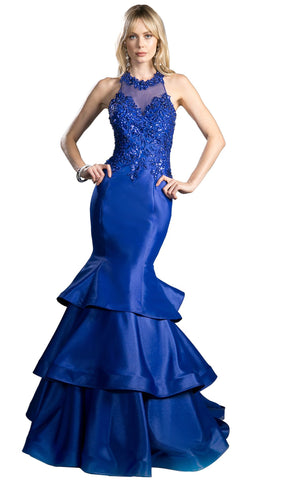 Beaded Halter Tiered Mermaid Prom Dress With Train - ADASA