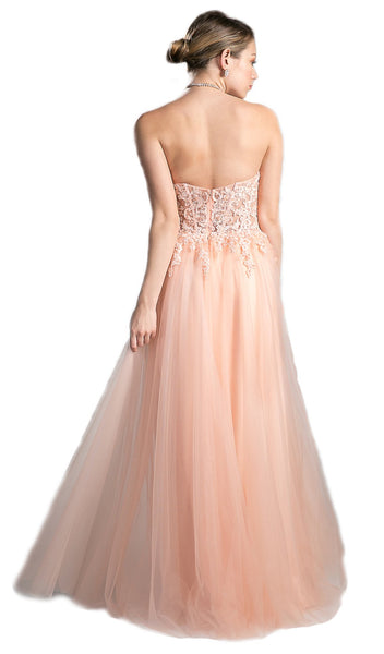 Strapless Floral Lace Sweetheart A-line Dress