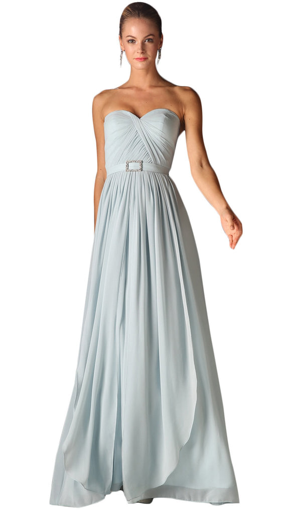 Strapless Twined Front Chiffon Long Evening Gown