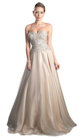 Beaded Sweetheart Tulle A-line Evening Dress - ADASA