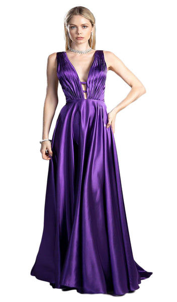 Pleated Deep V-neck Satin A-line Dress