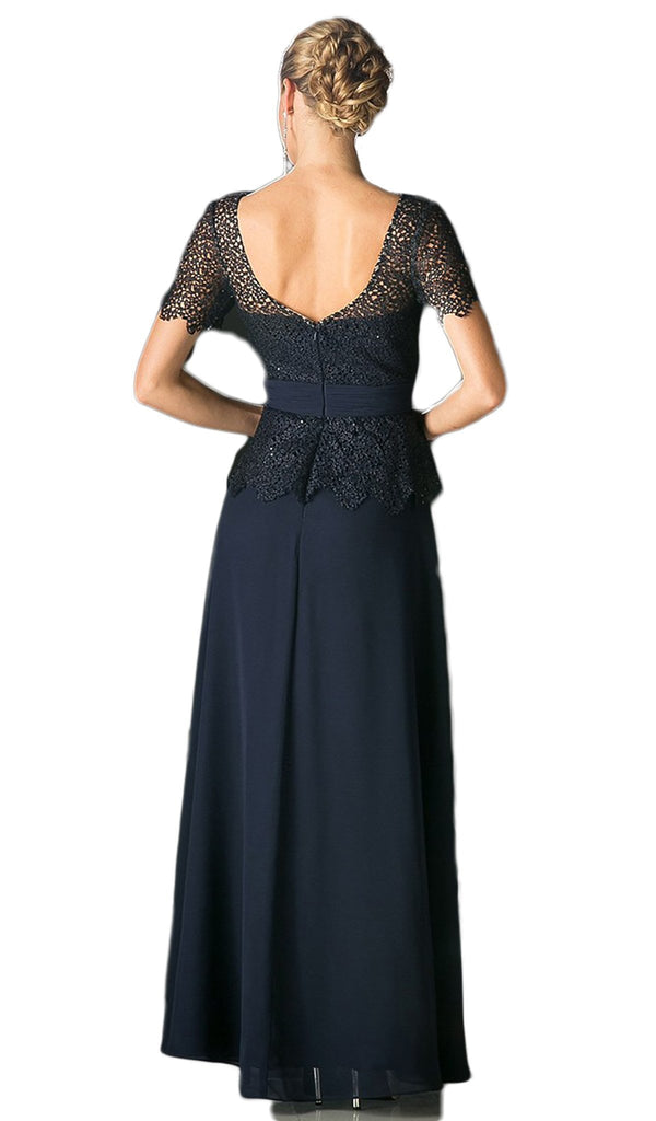 Lace Short Sleeve Illusion Bateau Sheath Dress