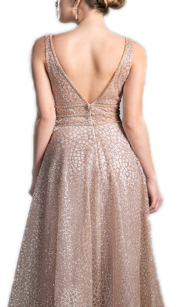 Sequined V-neck A-line Long Prom Dress