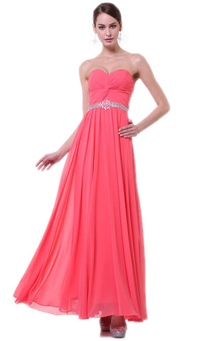 Twisted Ruched Jeweled Sweetheart A-line Dress