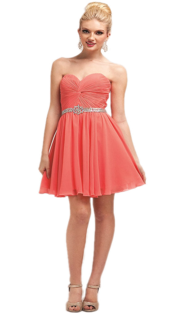 Strapless Twisted Ruched Sweetheart A-line Dress
