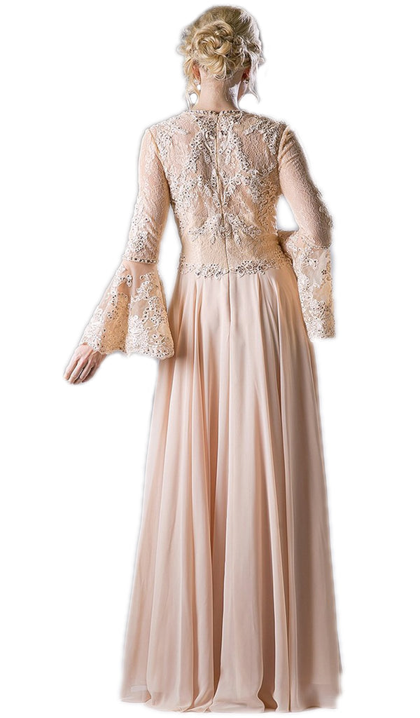 Embellished Lace Long Bell Sleeve A-line Dress