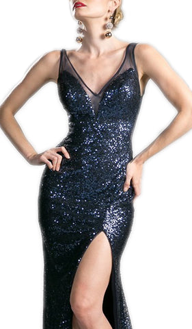 Fully Sequined V-neck Sheath Prom Dress