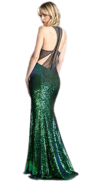 Sleeveless Sequined Sheath Prom Dress With Train