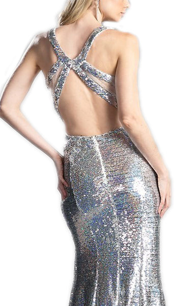 Sequined Sheath Prom Dress With Crossed Open Back
