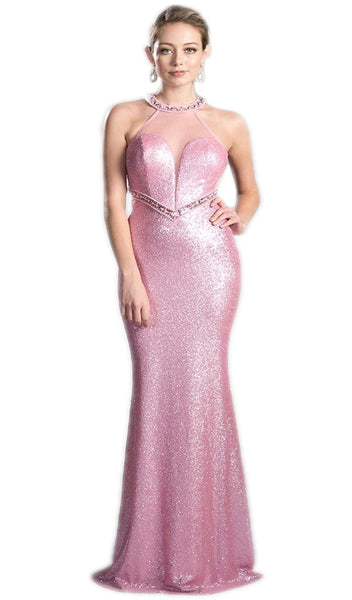 Long Sequined Halter Sheath Prom Dress