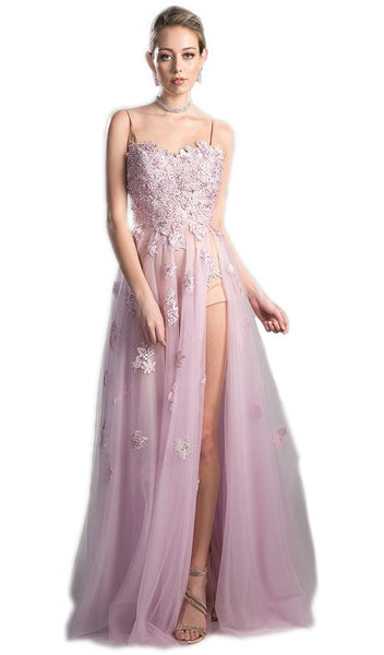 Floral Embroidered Tulle A-line Prom Dress