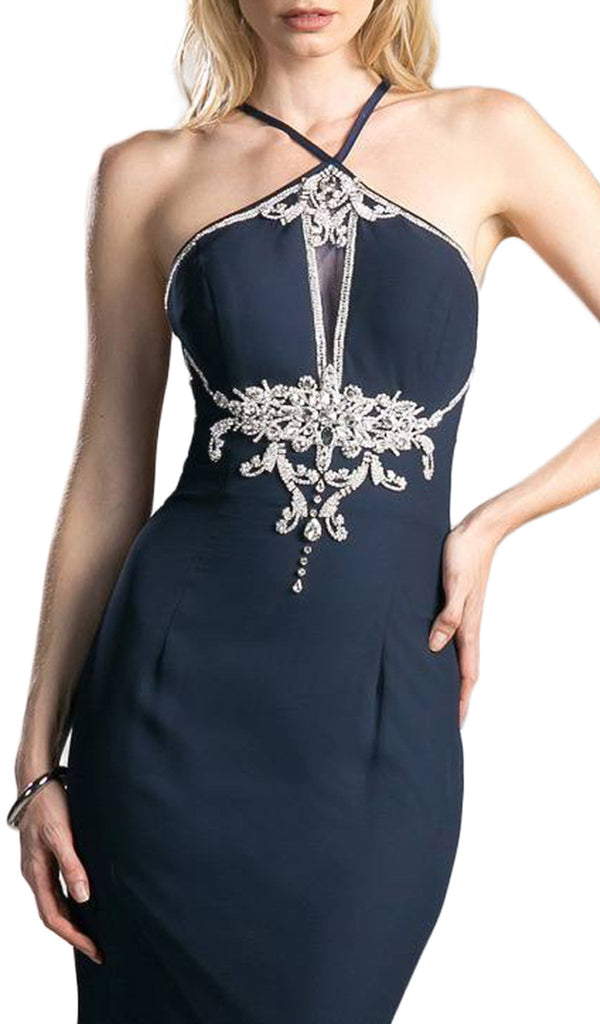 Bedazzled Halter Neck Sheath Evening Dress - ADASA