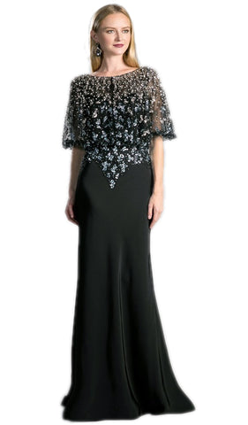 Embellished Bateau Sheath Evening Dress - ADASA