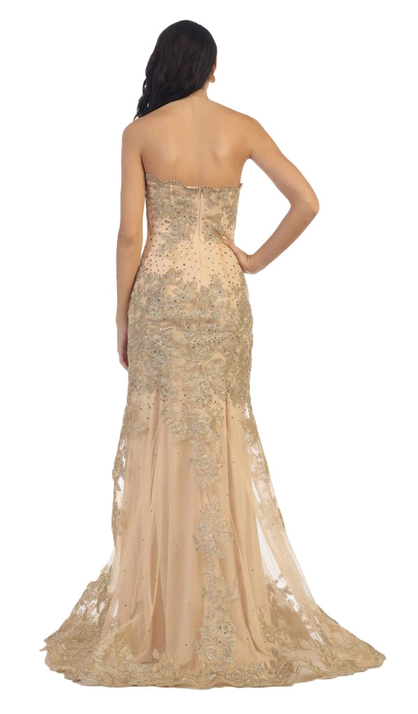 Scalloped Neck Gilded Long Prom Gown