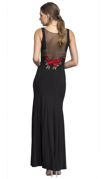 Long Black Sheath Formal Dress with Illusion Back