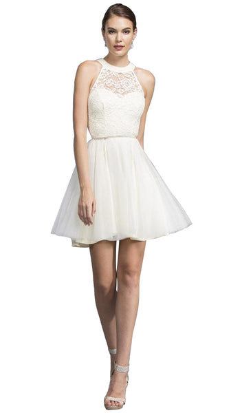 Halter Neck Short Dress with Crystal Ornate Belt