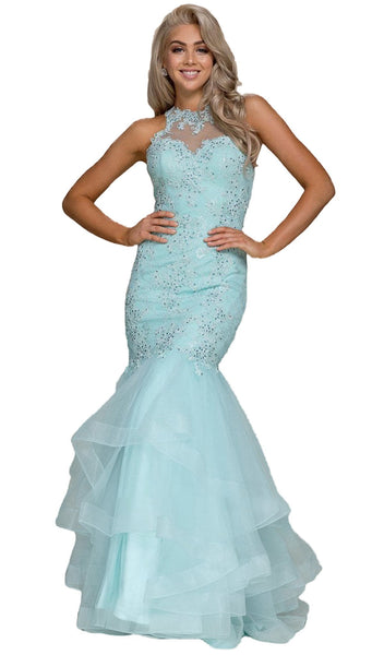 Beaded Lace High Halter Tulle Mermaid Dress - ADASA