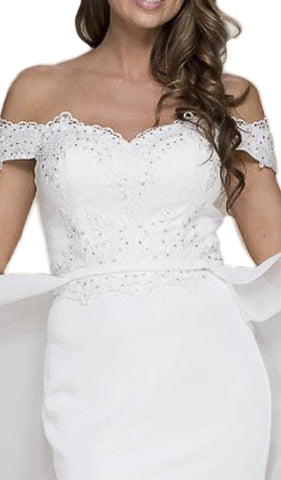 Embellished Off-Shoulder Sheath Dress