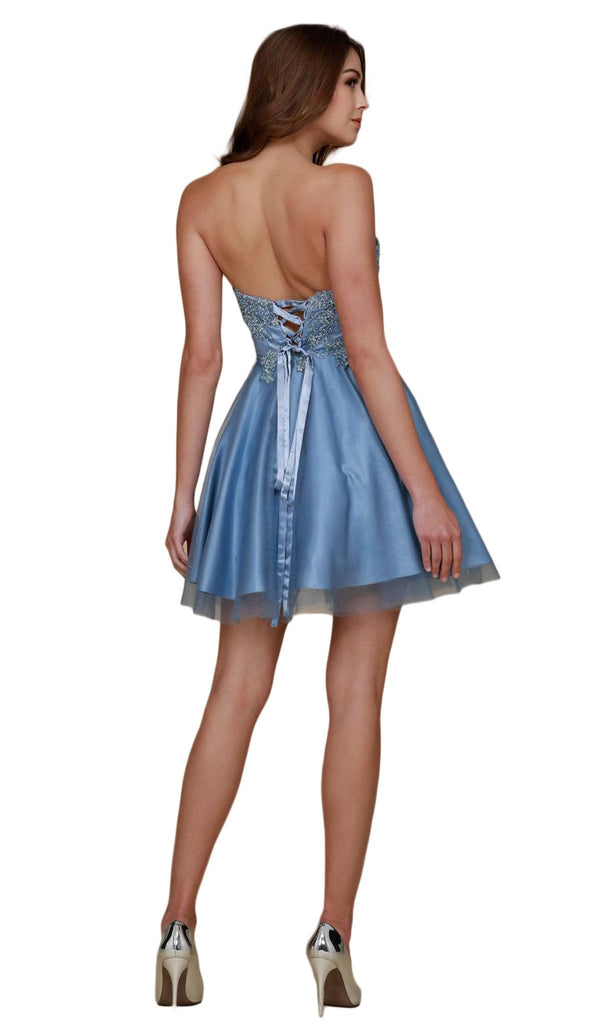 Nox Anabel - G651 Embroidered Strapless Sweetheart Cocktail Dress