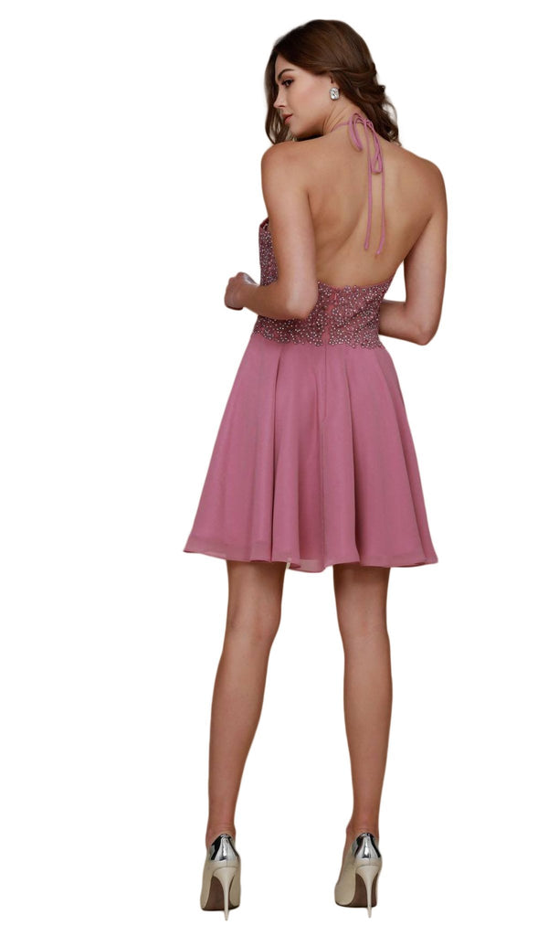 Nox Anabel - G657 Applique Halter Neck A-line Dress