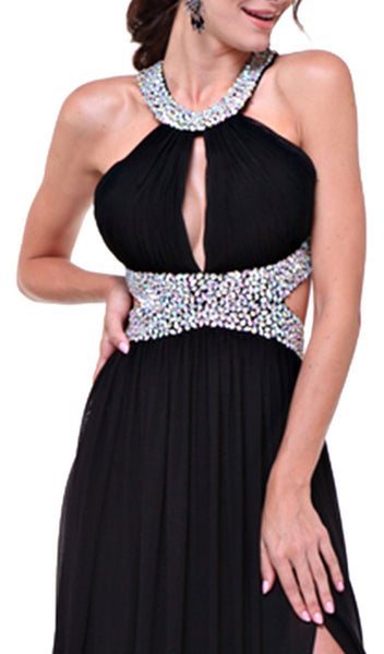 Bejeweled Halter Ruched A-line Dress - ADASA