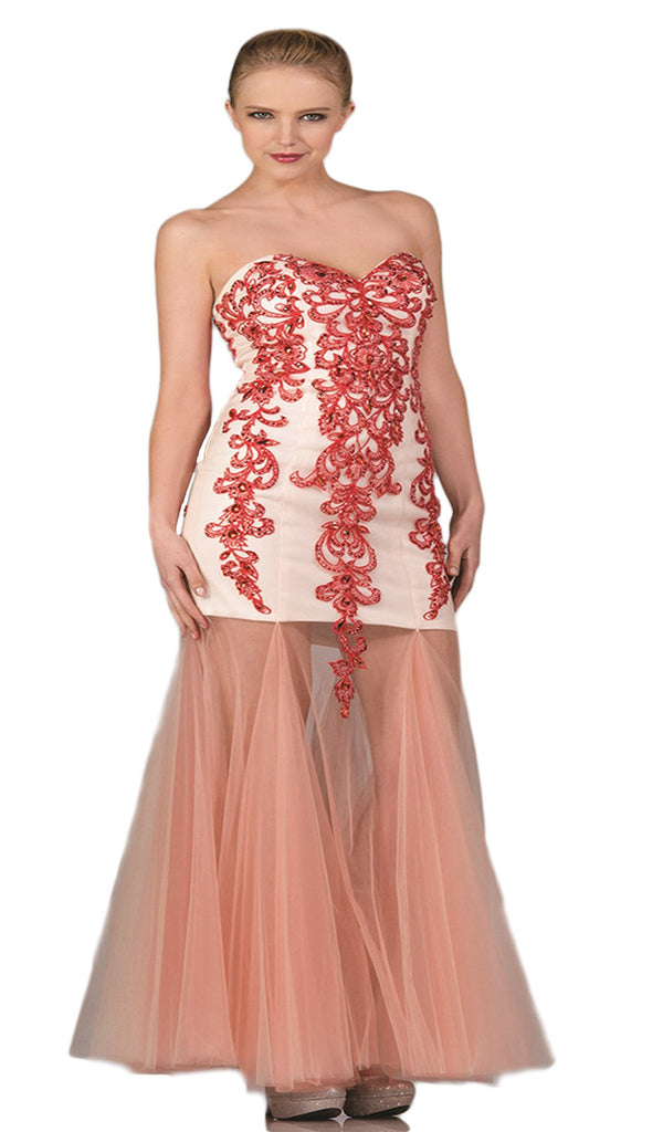 Embellished Sweetheart Sheer Trumpet Dress