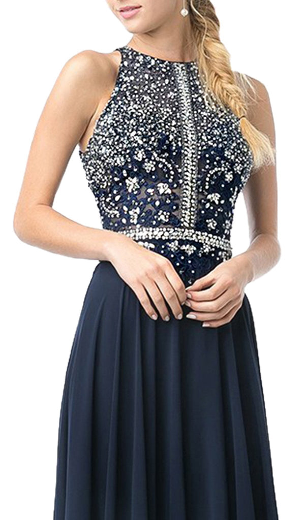 Bedazzled Halter Neck A-line Dress - ADASA