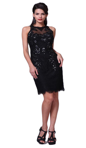 Sequined Lace Illusion Halter Sheath Dress