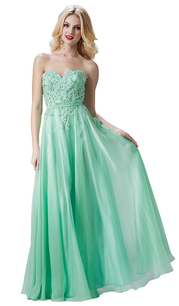 Strapless Floral Applique Sweetheart A-line Dress