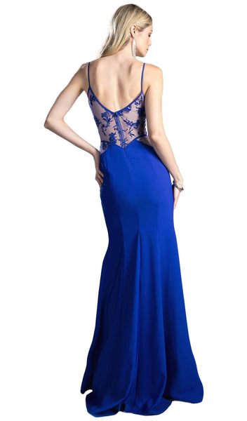 Bead Embroidered Jersey Sheath Prom Dress - ADASA