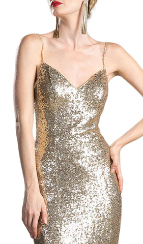 Fully Sequined V-neck Layered Mermaid Prom Dress