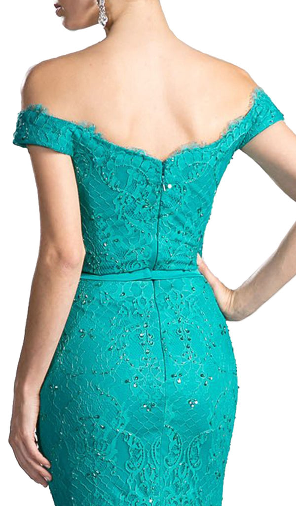 Scalloped Off Shoulder Lace Evening Dress