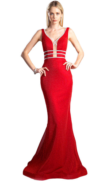 Illusion Plunge Inset Bodice Mermaid Evening Gown