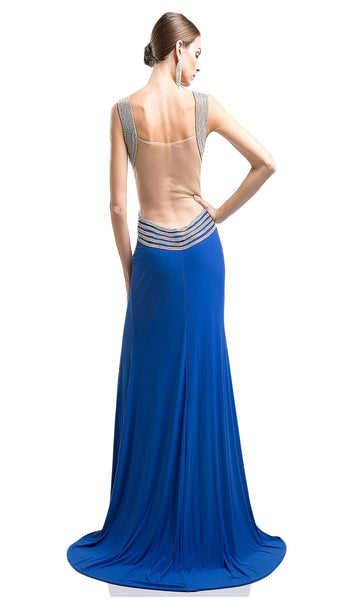 Beaded V-neck Sheath Dress With Slit - ADASA