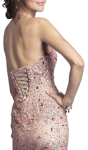 Gemstone Embellished Strapless Prom Dress