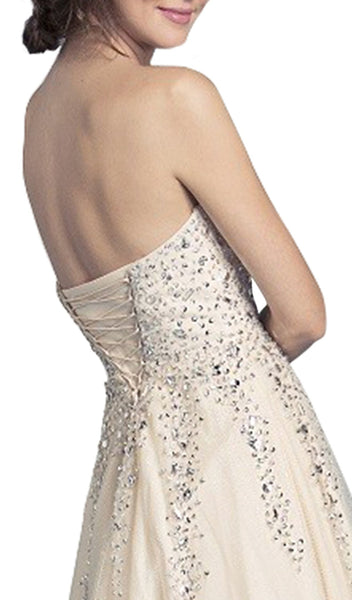 Sparkly Strapless Corset Back Evening Gown