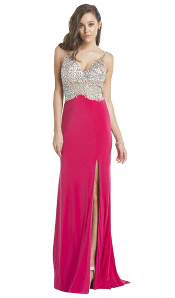 V-Back Jersey Dazzling Evening Gown