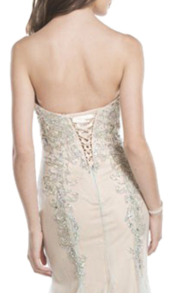 Enchanting Beaded Strapless Trumpet Prom Dress