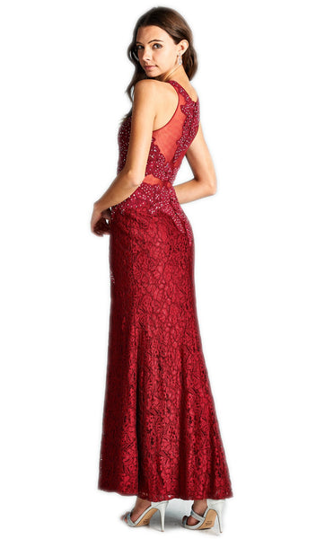 Embroidered Sheer Sheath Evening Dress