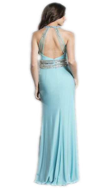 Embellished Back Cutout Evening Dress - ADASA